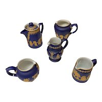 Grouping of Vintage Dudson Brothers GB Pottery (Tea Pot and 4 pitchers/creamers)