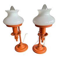 Vintage Pair of Orange Mini Student Lamps with Shades circa 1960-80's