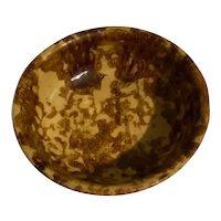 Vintage Spongeware Yellow Ware Bowl 6 1/4 In Dia Top Circa 1900-40's
