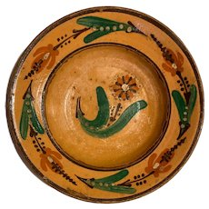Vintage Wall Art Hand Painted Pottery Bowl from Eastern Europe