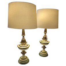 Vintage Pair Tall Tole/Brass Table Lamps circa 1940-60's with Shades