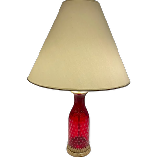 Vintage Cranberry Glass Decanter Based Table Lamp with double sockets circa 1930-1960's