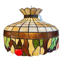Vintage Tiffany Style Stained Glass Ceiling Lamp with Fruit Design