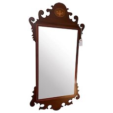 Vintage Chippendale Style Mirror with Pottery/Urn Design at Top and Orange Band