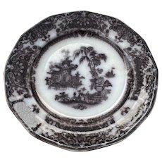 Pair of Antique P W & CO Potter Corean Design Mulberry Transferware Stoneware Plates 8 3/4 In