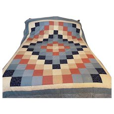 Vintage Hand Made Quilt Country Pattern and Queen Size