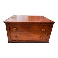 Antique 2 Drawer Reddish Table Top Cabinet circa 1890-1899