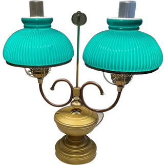 Antique Double Student Lamp with Original Green Shades Circa 900-1930's