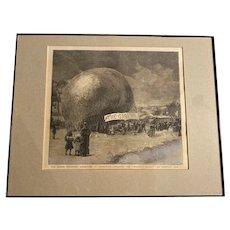 Antique Great Britain Graphic Publication, Graphic Balloon Gravure 1884 Framed