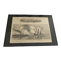 Antique Etching of NJ Troops Chesapeake Bay 1861 and Battle at Hampton Roads 1862