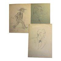 Vintage Alois Derso (1888-1964) Political Cartoonist/Illustrator with 13 Sketches 1940-50's