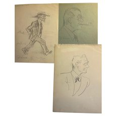 Vintage Alois Derso (1888-1964) Political Cartoonist/Illustrator with 13 Sketches 1940-50's