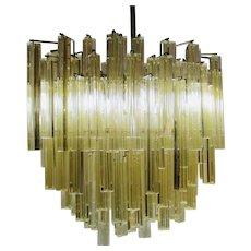 Venini Murano Gold Fleck Glass Chandelier
