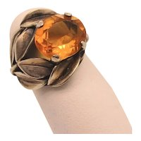 Citrine and Sterling Silver Asymmetrical Foliage Ring