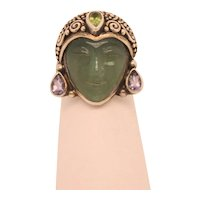 Sajen Green Onyx Face and Peridot Ring
