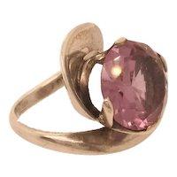 Mid Century Modernist Amethyst Silver Ring