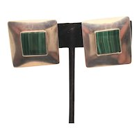 Malachite and Sterling Square Clip-On Earrings