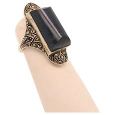 Art Deco Chalcedony and Marcasite  Ring