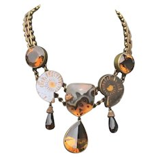 Stephen Dweck Jewelry Bronze Mounted Citrine and Shaped Ammonite on Bronze Chain