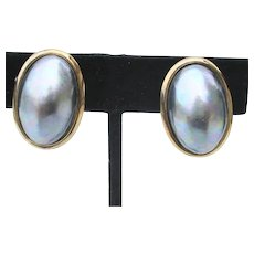 Mid Century Freshwater Pearl and Gilt Silver 925 Clip-On Earrings
