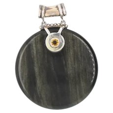 Sajen Obsidian and Sterling Pendant