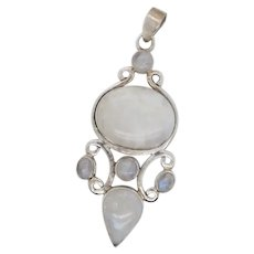 RainBow Moonstone and Sterling Silver 925 Pendant