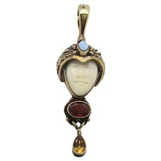 Sajen Goddess  Gilt Silver 925 Pendant with Opal Garnet and Topaz