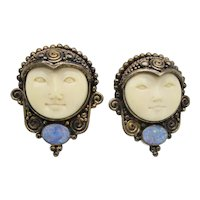 Sajen Goddess and Opal Clip-on Earrings