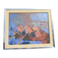 Mid-Century Expressionist Mens Rowing Team Painting