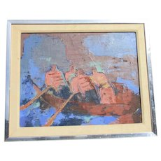 Mid-Century Expressionist Rowers Painting