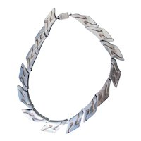 Mexican Sterling Silver 925 Band Necklace With Oxidized Designs