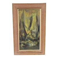 "Jean-Theobald Jacus Mid-Century ""Harbor Scene"" Oil Painting"