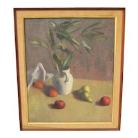 Vintage Mid-Century Still Life Canvas Painting Unsigned