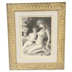 Paul Delvaux  Lithograph of Venus and Cupid