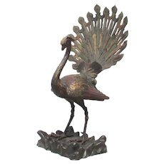 Vienna Bronze  Massive Size Sculpture of  Peacock circa.  1880