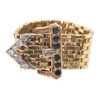 American Buckle Ring 14kt Gold with Diamond and Sapphire