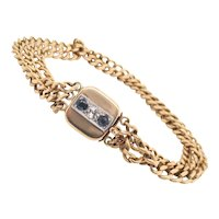 Three Chain Bracelet with Diamond and Sapphires 10Kt. Gold