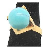 Turquoise Ball in Modernist Setting 18k. Gold Ring