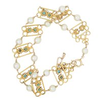 14k. Gold and Cultured Pearl with Turquoise Bracelet