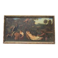 19th Century Mythological Landscape with Actaeon and Artemis Oil Painting on Canvas