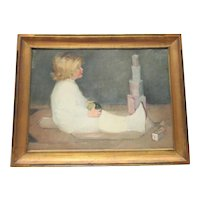Arts and Crafts Period Painting of Child with Toys