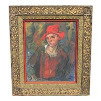 "Expressionist Portrait Painting    ""Youth in Red"""