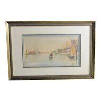 Jean Francois Raffaelli Watercolor of Venetian Canal Scene