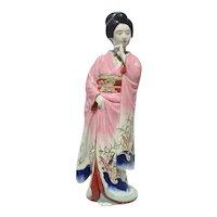 Kutani Japanese Porcelain Geisha in Pink Kimono
