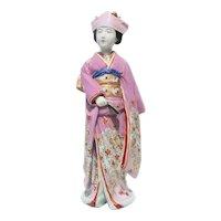 Antique and Large Kutani  Porcelain Japanese Bridal Figure