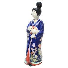 Kutani Porcelain Figure of Geisha and Puppy