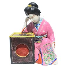Kutani Japanese Geisha Sitting by Tall Hibachi