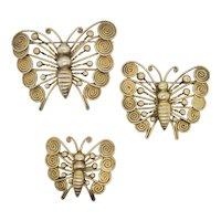 Cluster Pin  Brass Handmade Butterflies  Vintage 40s'