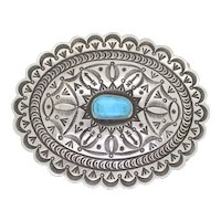 Sterling Silver Turquoise Mens Belt Buckle