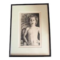 Leo Summers Etching Artist Proof  Grandson